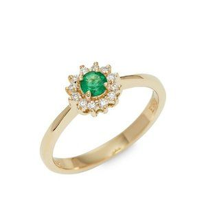 ❤️ Solid 14k Gold Emerald and Diamond Halo Ring
